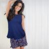 Short azul con flores KENTHIA